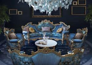 Millionaire New B/2203, Bequemes Sofa, mit runden Form, reich Hand Schnitzereien, wertvolle Stoffe