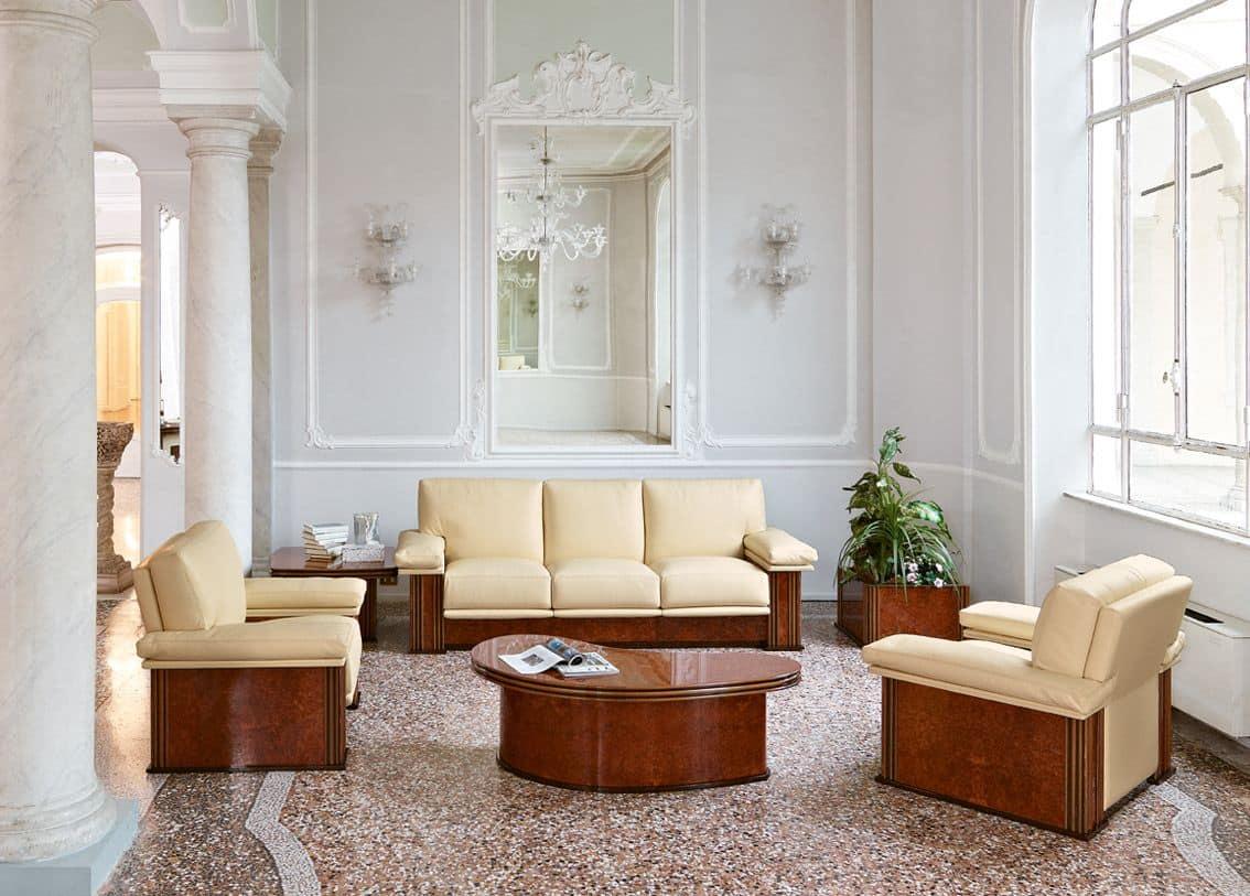 Gepolstertes Sofa für Wartezimmer, im klassischen zeitgenössischen ...