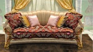 Primavera 2-Sitzer-Sofa, Klassische handgeschnitzten Sofa für elegante Lounges