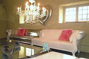 Queen Stoff modular, Klassisches Sofa mit massivem Buchenholz Struktur