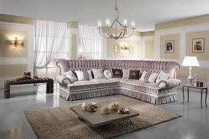 QUEEN eckig, Eckgestepptes Sofa mit Bett