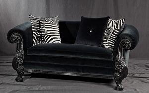 Queen schwarzer Stoff, Neuer Barock-Stil Sofa, in geschnitzt schwarz lackiertem Holz