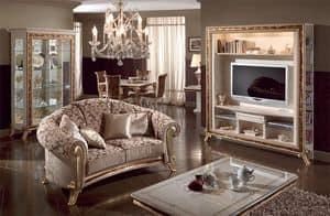 Raffaello Sofa, Polster klassischen Luxus-Sofa, goldenen Verzierungen