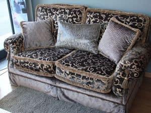 Riva, 2-Sitzer-Sofa für klassische Wohnzimmer, luxuriöse Gewebe