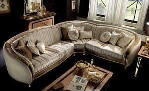 Rossini divano angolare, Modularl Sofa mit Samt bedeckt, mit handgefertigten Inlay