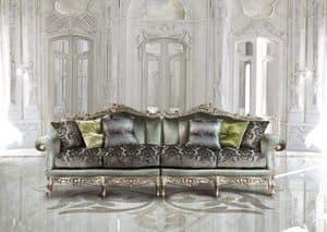 Saint Germain Due, 4-Sitzer-Sofa in Luxus-klassischen Stil, handgeschnitzt