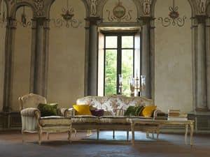 Silvia, Sofa ganz handgeschnitzt, Louis XV Style