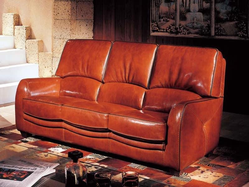 klassischen stil sofa aus montana braunem leder idfdesign. Black Bedroom Furniture Sets. Home Design Ideas