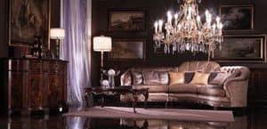 Valentina, Ecksofa in Seide bedeckt, Luxus im klassischen Stil