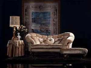Valeria Sofa capitonné, Luxus klassisches Sofa, Nußbaum, für Wohnzimmer