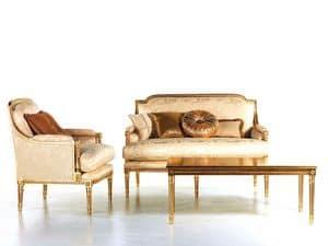 Vanessa Sofa, Gepolstertes Sofa, Goldverzierungen, für die Aufnahme