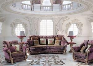 Venice Due, 3-Sitzer-Sofa für zu Hause, klassischen Luxus-Stil