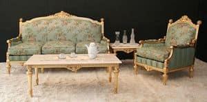 Montecarlo, Klassisches Wohnzimmer mit Blattgold -Finish