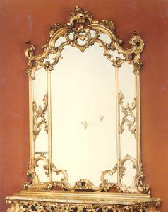 560 Spiegel, Barockspiegel, mit handgeschnitztem Rahmen