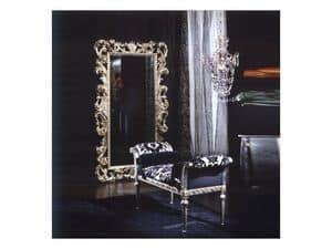 701 MIRROR, Spiegel in Holz, Silber-Finish, klassischen Luxus-Stil
