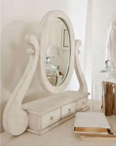 Amedeo Spiegel, Tischspiegel, mit Schubladen, Intarsien