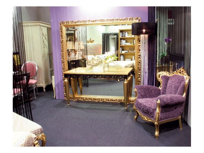 Art. 1799 Audrey, Große klassische Spiegel, quadratisch, Holz, für Lobby