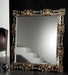 Art. 20534, Quadratischer Spiegel mit handgeschnitztem Rahmen