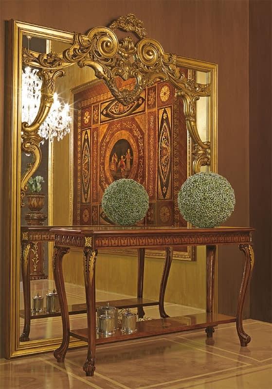 gro er spiegel mit handgeschnitzten holzrahmen idfdesign. Black Bedroom Furniture Sets. Home Design Ideas