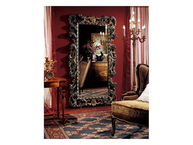 Ergänzt Spiegel 854, Große rechteckige Spiegel mit Holzrahmen verziert