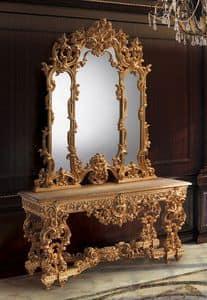 F770, Konsole und Spiegel golden, klassisch luxuriös Stil