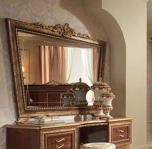Giotto Toilettentisch, Spiegel in der Form des umgekehrten Trapezes, mit Rahmen
