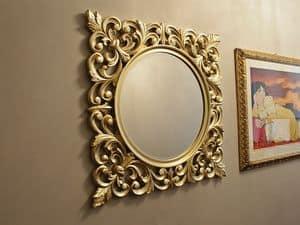 Ibis Gold Spiegel, Runder Spiegel mit Goldrahmen