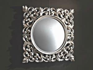 Ibis Silver Spiegel, Wandspiegel, geschnitzten Rahmen, Silber-Finish