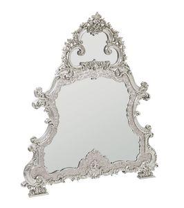 Imperial Spiegel, Spiegel mit Perlmutt-Rahmen, geschnitzt und mit Weißgold bedeckt