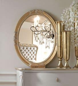 Live 5307 Spiegel, Ovaler Spiegel, mit Gestell aus Holz geschnitzt, in der Classic- Ausstattung