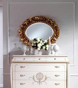 OLIMPIA B / Spiegel oval, Klassische ovalen Spiegel aus Massivholz geschnitzt