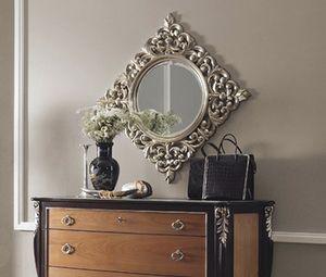 R89 / Spiegel, Runder Spiegel, mit quadratisch geschnitzten Rahmen