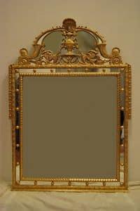 SPIEGEL MIT CYMA ART. CR 0061, Spiegel mit Cyma, handgeschnitzt, vergoldet