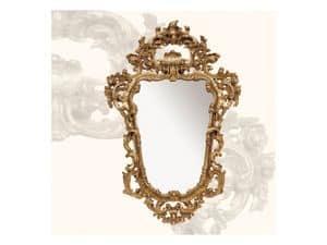 Wall Mirror art. 113, Spiegel mit Holzrahmen, Rokoko-Stil