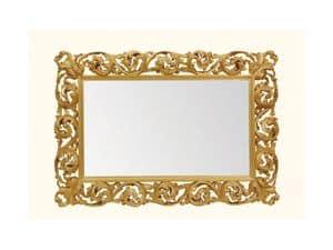 Wall Mirror art. 116, Horizontal Spiegel mit Holz geschnitzten Rahmen