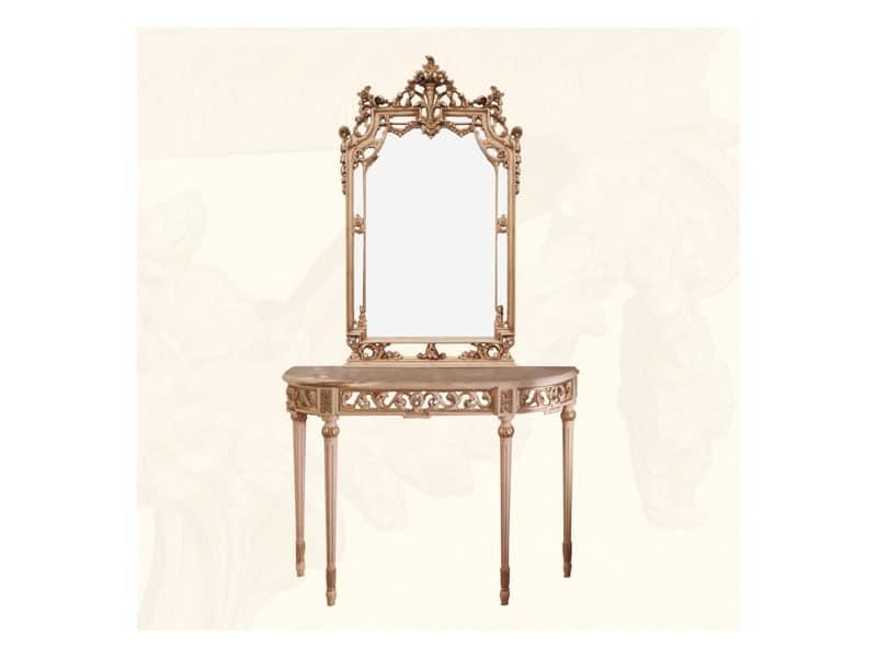 Wall Mirror art. 117/a, Klassischen Stil Spiegel mit Veredelungen in Elfenbein und Gold