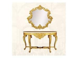 Wall Mirror art. 151, Spiegel mit Rahmen verziert, gewundene Form