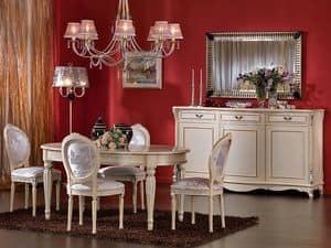 3440 STUHL, Medaillon-Stuhl, lackierte Oberflächen, für Esszimmer
