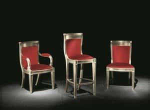 Eleganza Stoff, Klassischer Stuhl mit Armlehnen für Hotels und Esszimmer