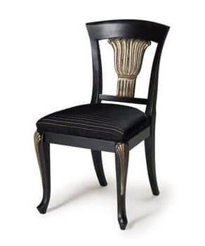 Art.139 Stuhl, Klassischer Stuhl aus Buchenholz, Sitz gepolstert mit Federn