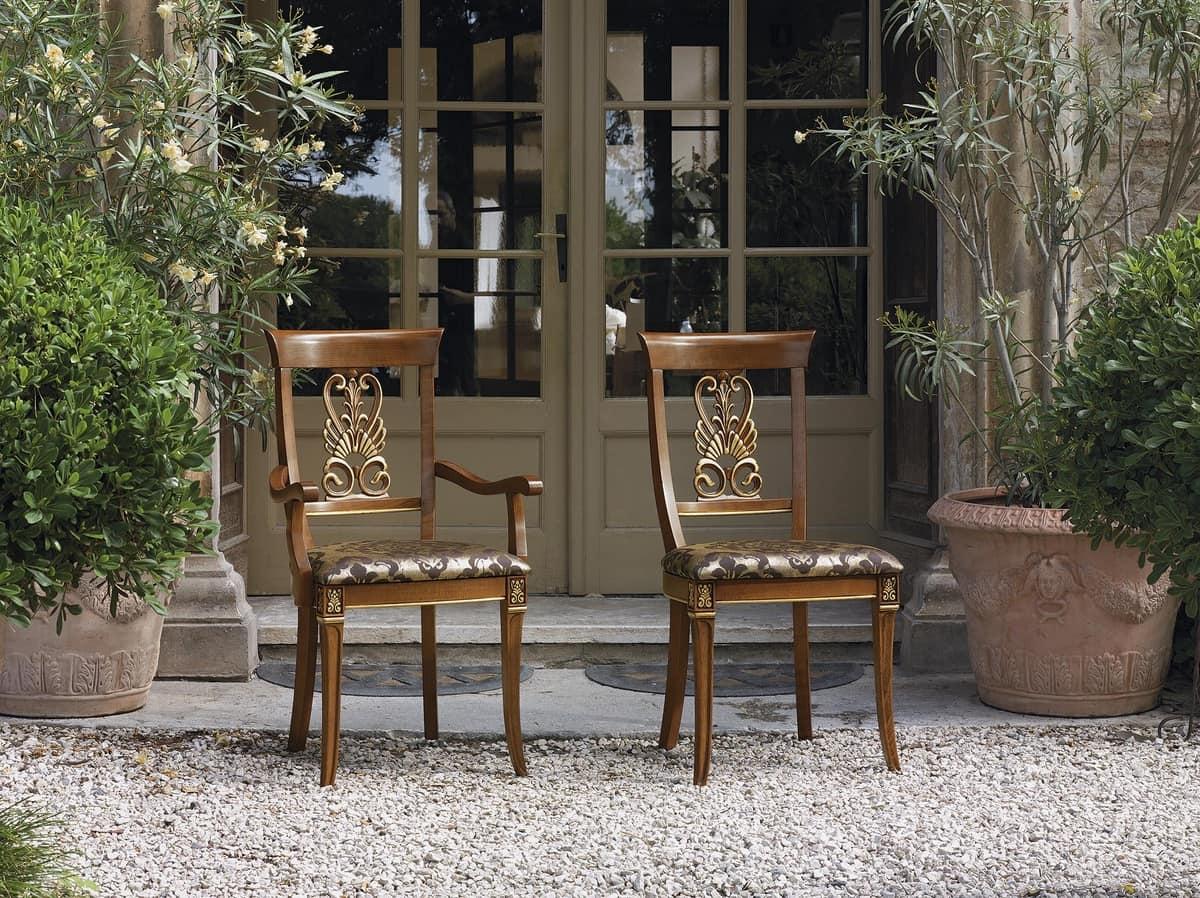 klassische geschnitzten holzstuhl gepolsterter sitz. Black Bedroom Furniture Sets. Home Design Ideas