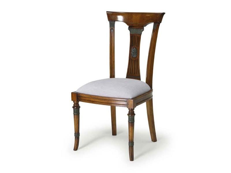 Art.186 chair, Esszimmerstuhl, gepolsterter Sitz und Rückenlehne aus Holz