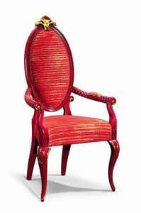 Art. 501p, Stuhl mit Armlehnen, lackiert, mit Goldblattdekorationen