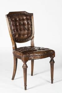 Art. 600/M, Stuhl in Kalbsleder bedeckt, Krokodildruck
