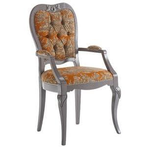 Art. AX109, Klassische Holzstuhl mit gepolsterten Armlehnen, Sitz und Rückenlehne