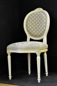 Art. L-792, Stuhl mit Holzrahmen, gepolsterter Sitz und Rücken mit Stoff überzogen, mit floralen Dekorationen verschönert