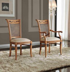 BS342S - Stuhl, Klassischer Stuhl mit Stockrückenlehne