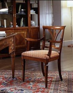 D 602, Stuhl in Kirsche, mit Armlehnen und gepolstert Sitz