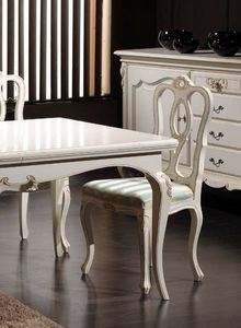 Desiree Stuhl, Klassischer Stuhl aus weiß lackiertem Holz