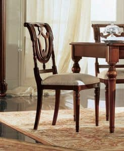 Gardenia Stuhl, Nussbaum Stuhl mit Rückenlehne perforiert, im klassischen Stil